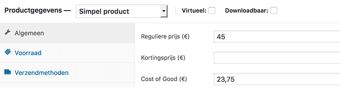 Inkoopprijs toevoegen aan product voor Cost of Goods