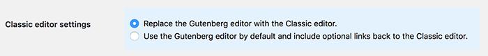 Klassieke editor plugin instellingen