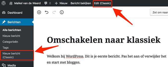 WordPress omschakelen naar de klassieke editor
