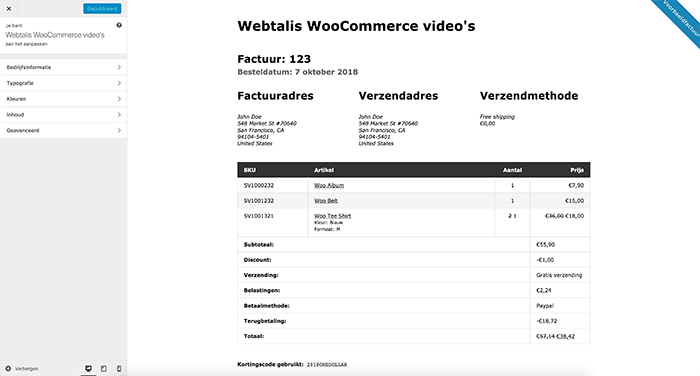 Sjabloon opties in de WooCommerce print invoice & packig lists plugin