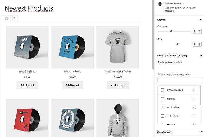 Nieuwste producten blok in de plugin WooCommerce blocks