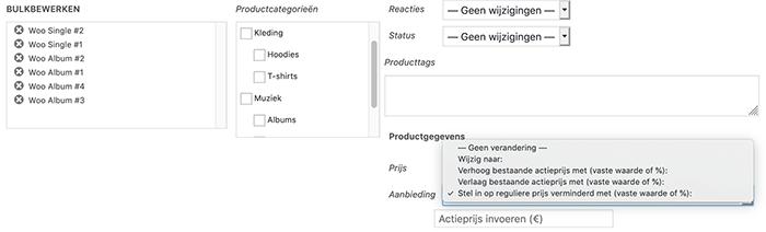 WooCommerce kortingen voor meerdere producten tegelijkertijd instellen