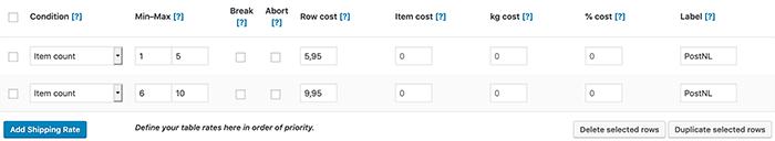 WooCommerce verzendkosten gebaseerd op het aantal producten in de winkelmand