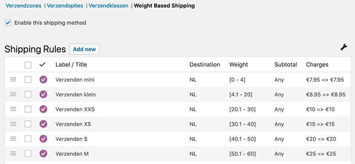 WooCommerce verzendkosten gebaseerd op totaal gewicht