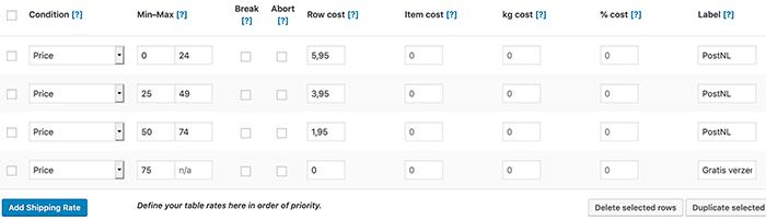 Verzendkosten instellen gebaseerd op het totaalbedrag van een bestelling