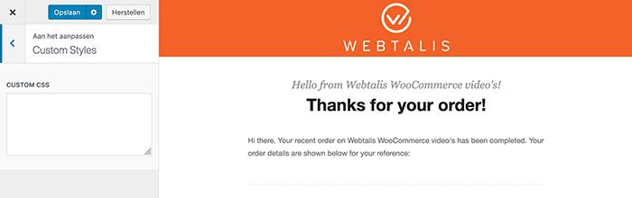 E-mail design met custom CSS.