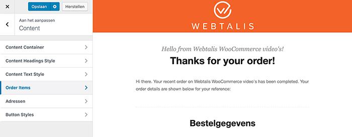 Design van WooCommerce e-mails verder aanpassen