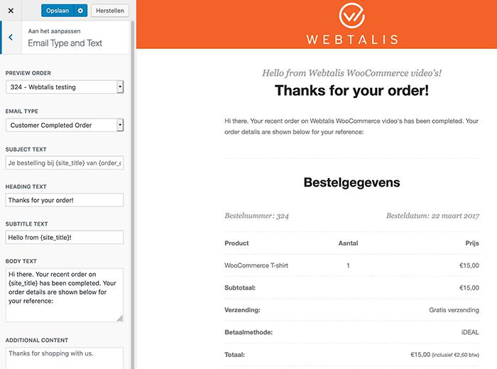 WooCommerce e-mail tekst aanpassen