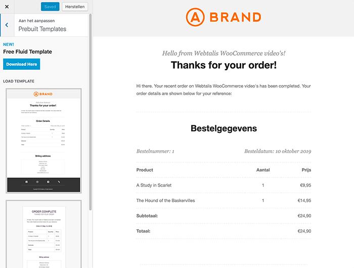 WooCommerce e-mail template veranderen