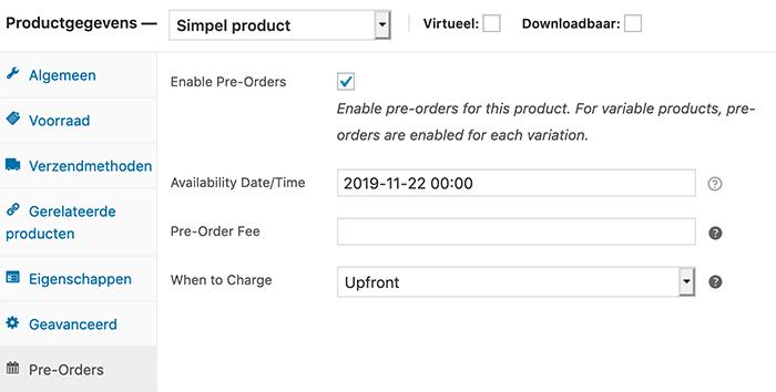 WooCommerce Pre-Order product maken