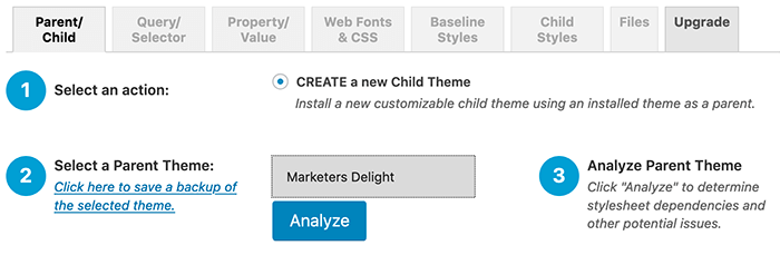 WordPress child theme aanmaken