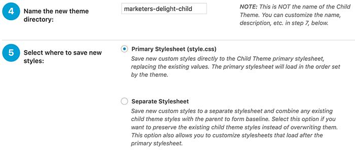 WordPress child theme naam en style instellingen