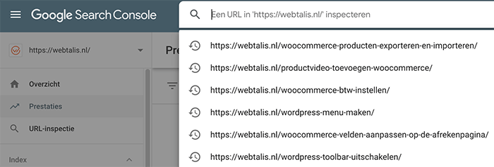 URL inspectie in de Google Search Console