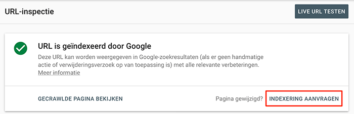 Indexering aanvragen in de Google Search Console