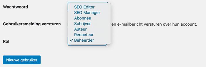 WordPress gebruikersrol kiezen