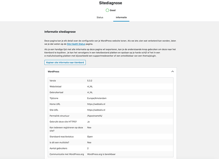 WordPress sitediagnose informatie