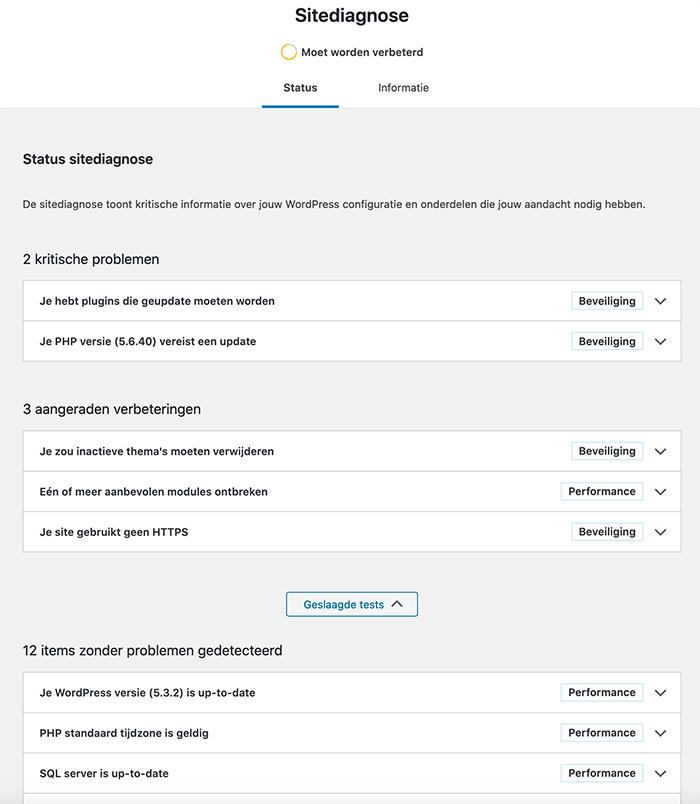 WordPress sitediagnose status