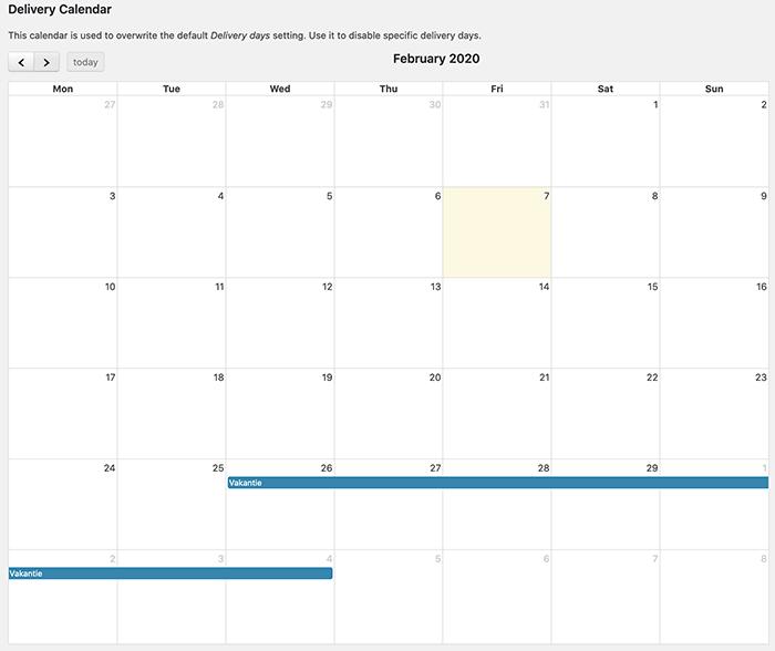 Delivery calendar van de Order Delivery plugin