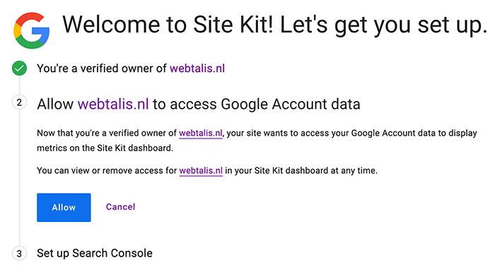 Toegang tot Google data accepteren