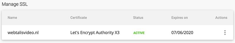 Actieve SSL-certificaat