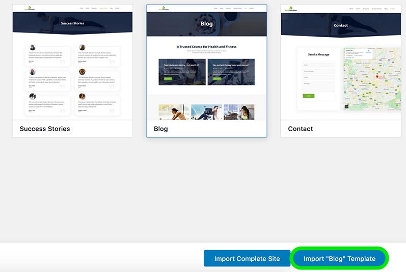 Blog template importeren