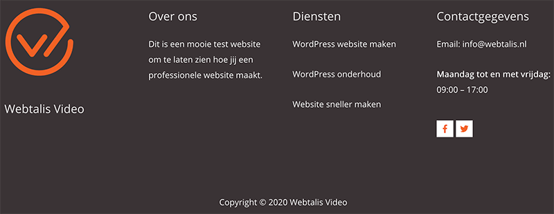Footer van een website