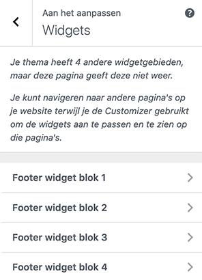 Footer widgets