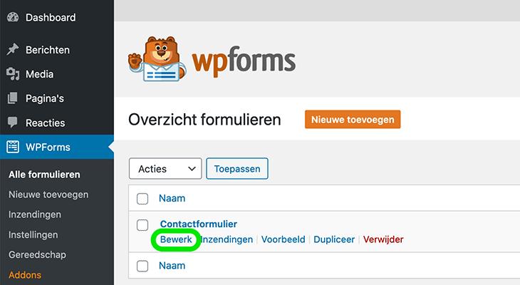 Formulier bewerken - WPForms