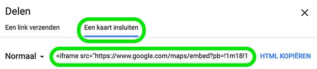 Google Maps deel iframe
