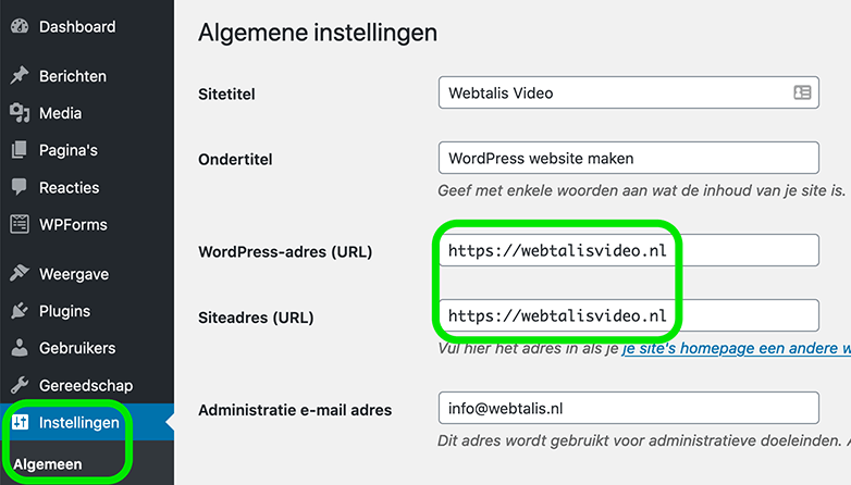 HTTPS instellen in WordPress