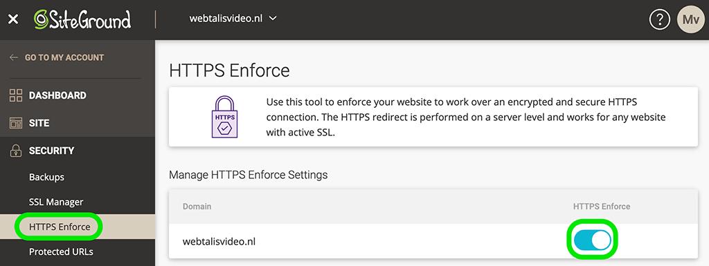 HTTPS verbinding forceren