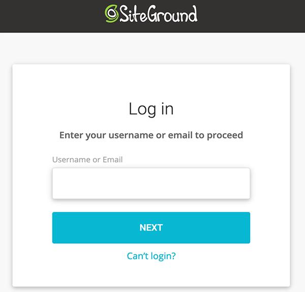Inloggen op SiteGround