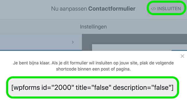 Insluitcode van het contactformulier