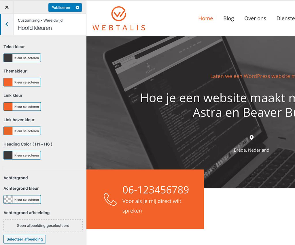 Kleuren instellen voor je website