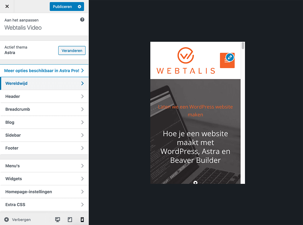 Mobiele weergave in de WordPress customizer