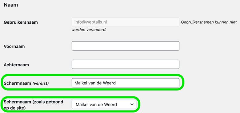 Schermnaam wijzigen van een gebruiker in WordPress