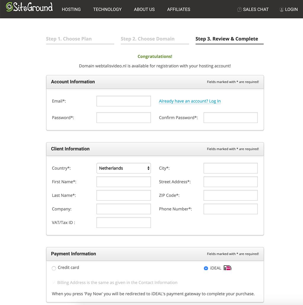 Siteground account aanmaken en factuurgegevens invoeren