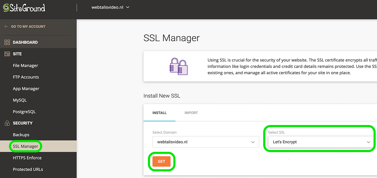 SSL installeren op je website via SiteGround