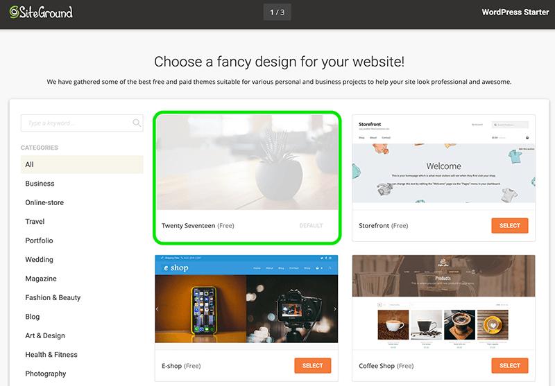 SiteGround thema kiezen