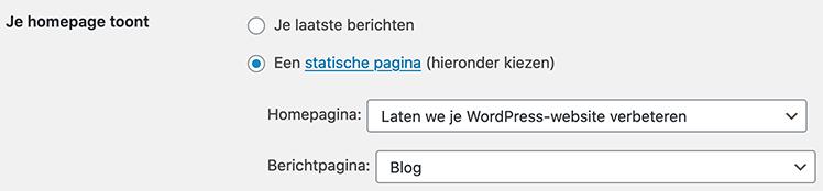 Statische homepage instellen in WordPress