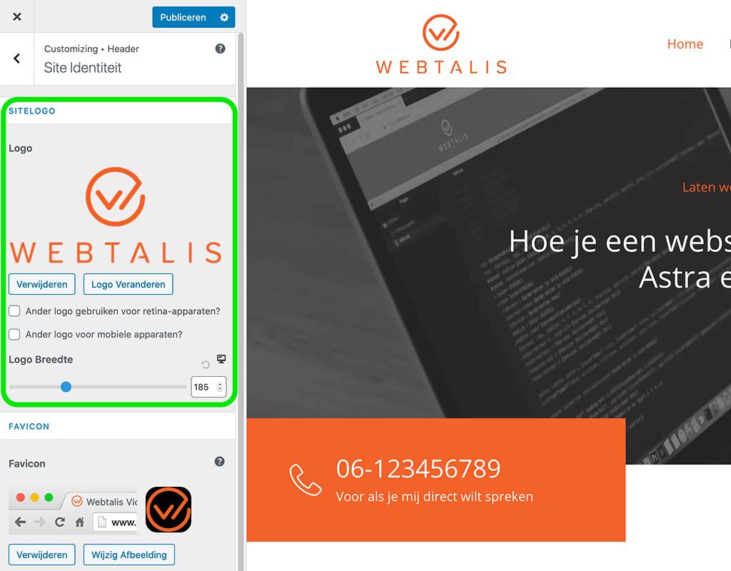 Logo instellen op je website