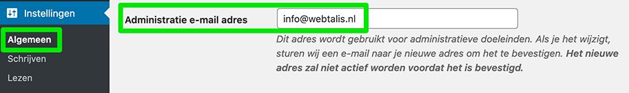 Administratie e-mailadres wijzigen in WordPress
