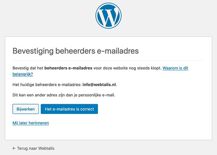 Bevestiging beheerders e-mailadres