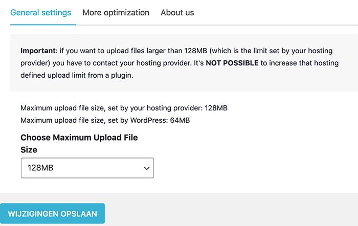 Maximale uploadlimiet verhogen met een plugin