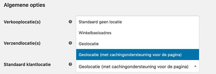 Standaard klantlocatie geolocatie wijzigen in WooCommerce
