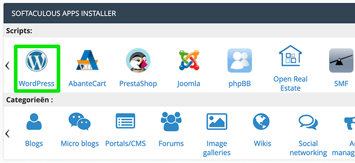 WordPress installeren via cPanel