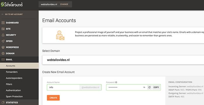 e-mailadres aanmaken in Siteground