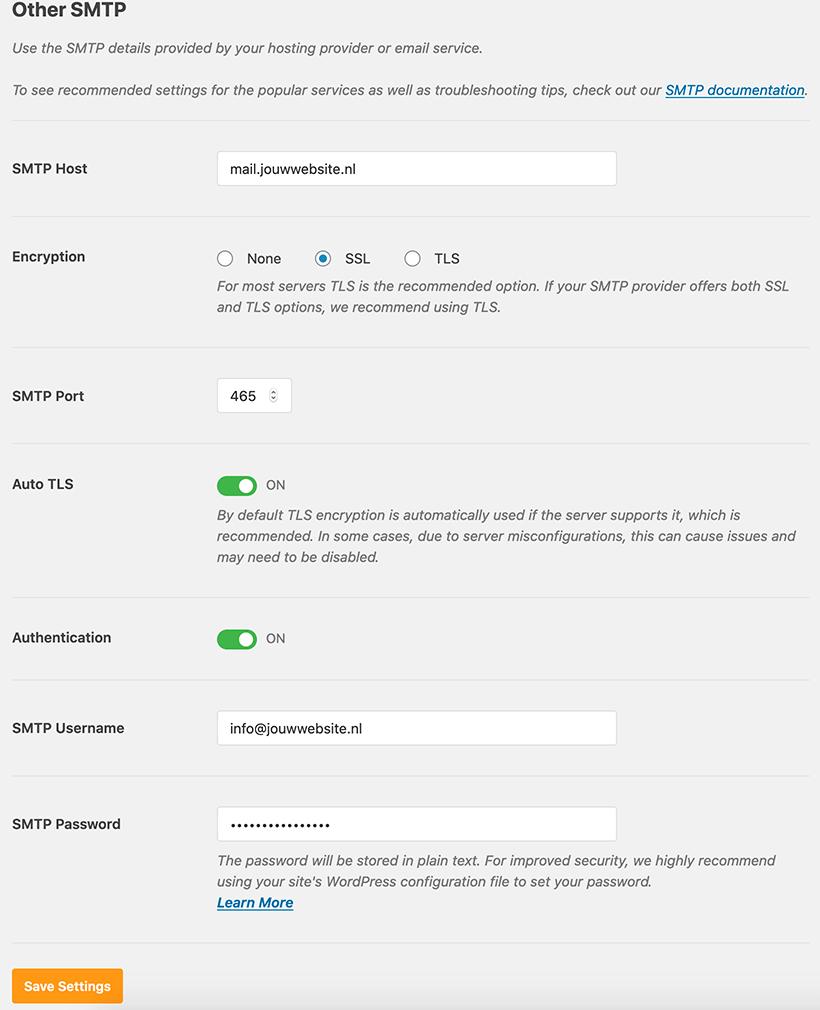 WordPress SMTP instellen