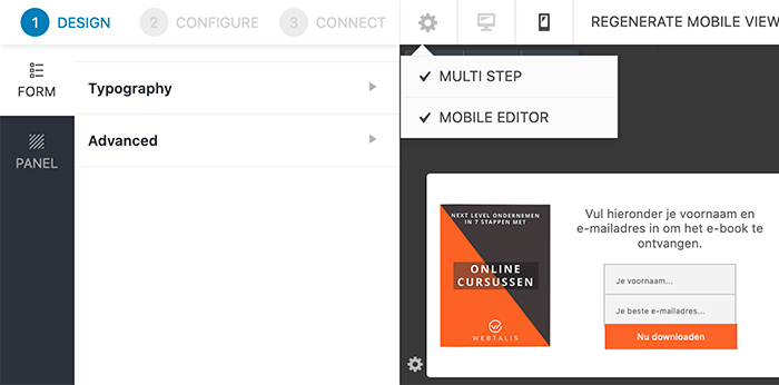 Mobiele editor in Convert Pro