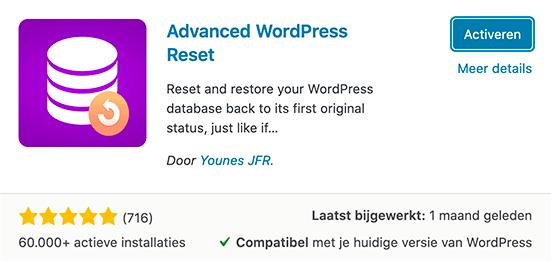 Advanced WordPress reset plugin activeren